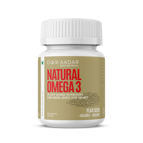 Aadar Natural Omega 3 | Vegan Omega-3 and Immunity Supplement for Men and Women | 60 Capsules