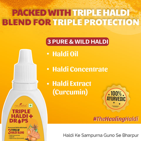 Neuherbs Triple Haldi Plus Drops- Power of ayurvedic herbs for Stronger Immunity : 30 ml