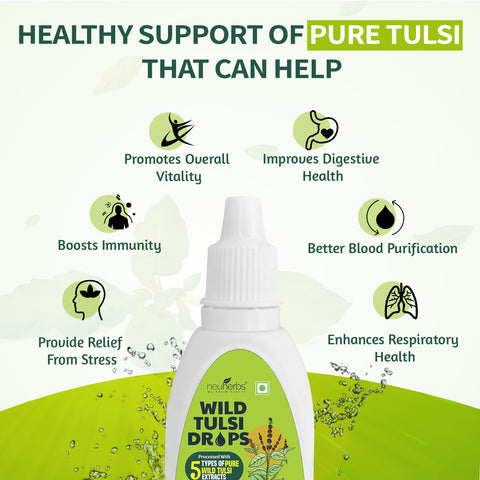Neuherbs Wild Tulsi Drops - Panch Tulsi Drops for Natural Immunity Boosting & Cough and cold Relief : 30 ml