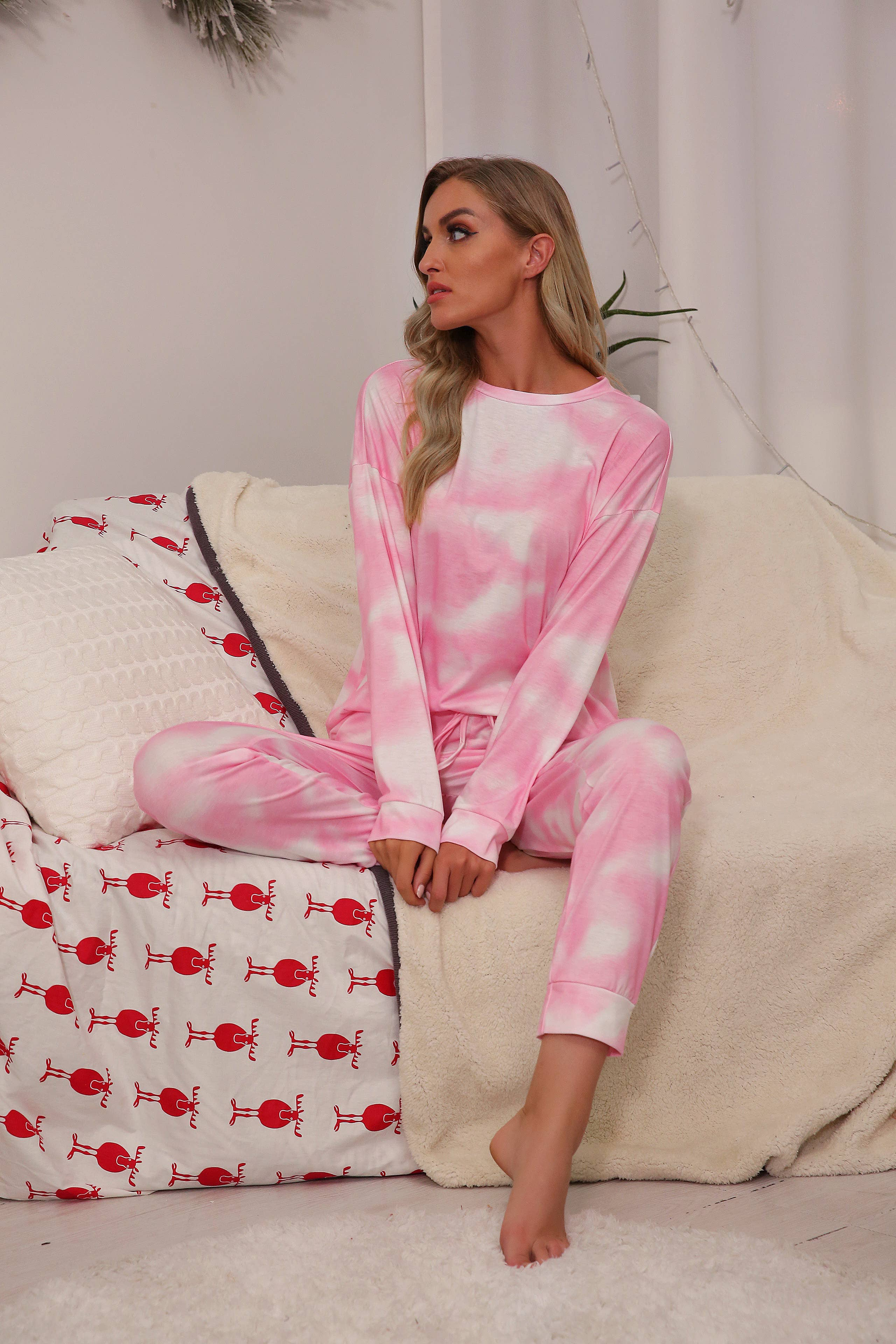 Light Pink Tie Dye Long Sleeves and Joggers Sets (S-2x)