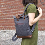 Load image into Gallery viewer, Backpack Mini in Gray/Chestnut