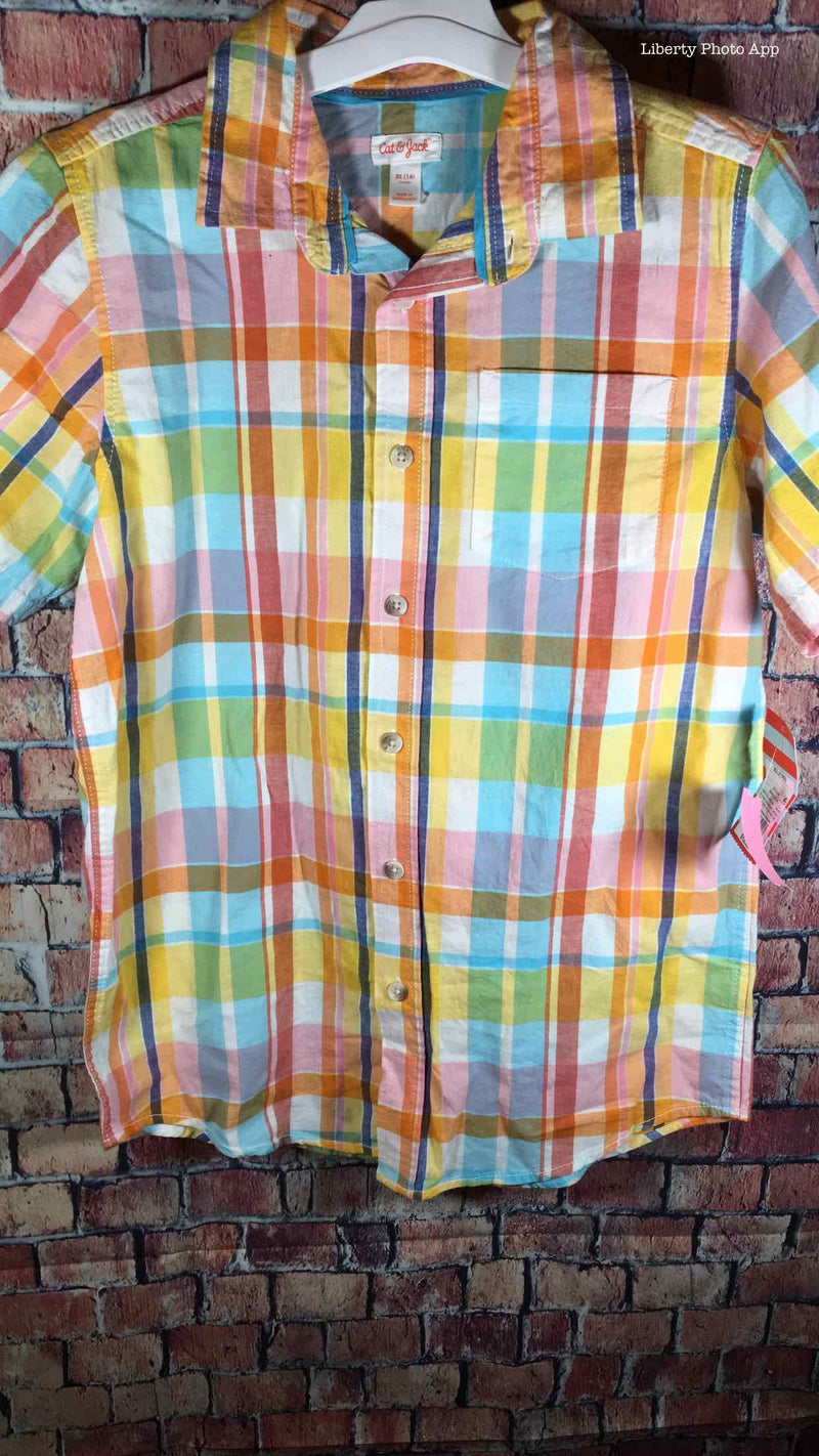 16 NEW Cat Jack Plaid Short Sleeve