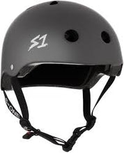 Load image into Gallery viewer, S1 LIFER HELMET - BLACK MATTE W/ GREY STRAPS