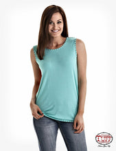 Load image into Gallery viewer, Cowgirl Tuff Women's Turquoise and Coral tank with studs and open back