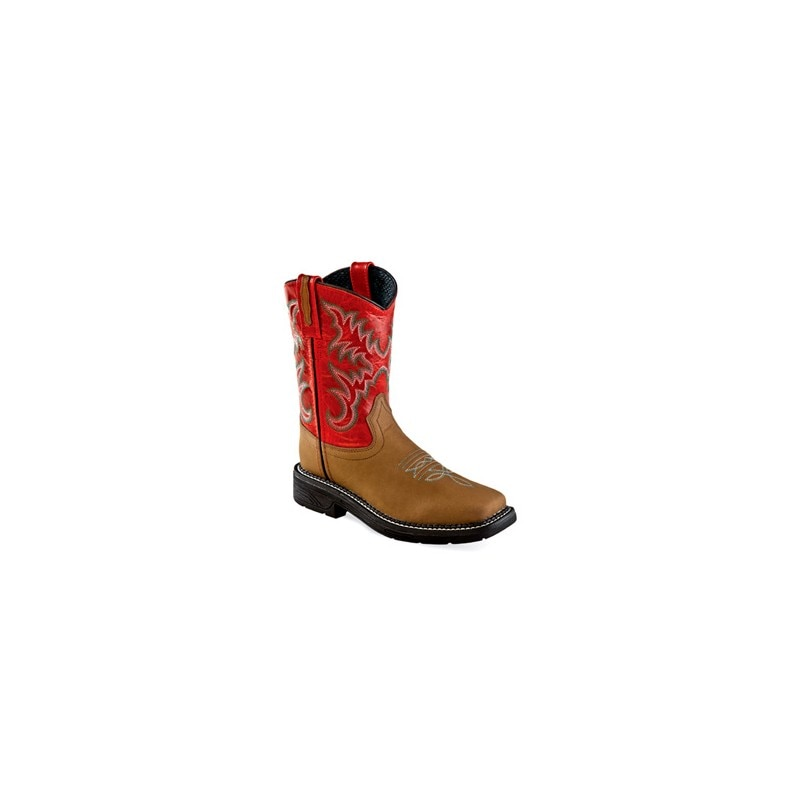 Old West Childrens Square Toe RED / Tan brown Boot