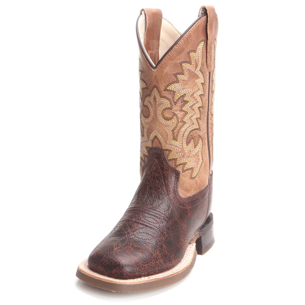 Old West Children's Tan/Brown Square Toe Cowboy Boots