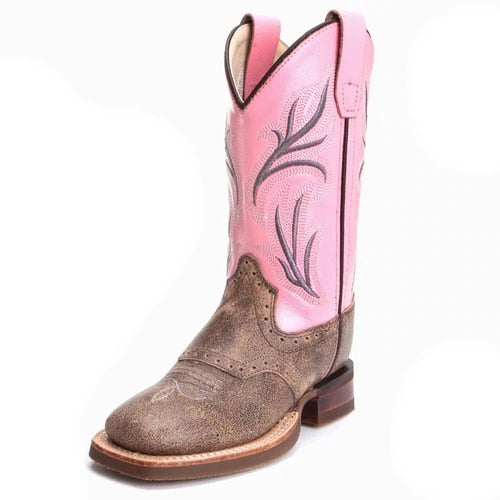 Old West Child's Vintage Pink Shaft Round Toe Western Cowboy Boots