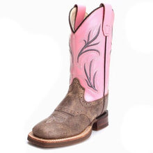 Load image into Gallery viewer, Old West Child's Vintage Pink Shaft Round Toe Western Cowboy Boots