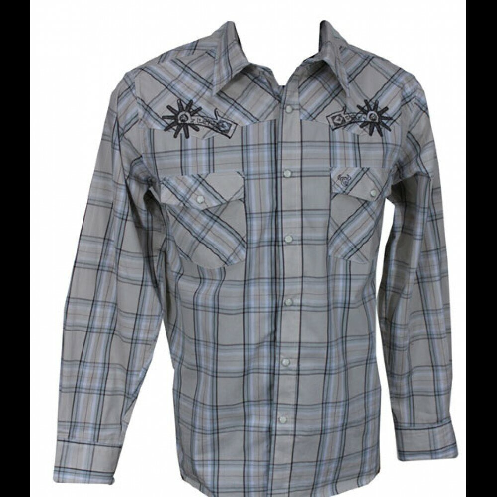 Cowboy Hardware Outlaw Ranch Embroidered  L/S Khaki Plaid Men's Shirt
