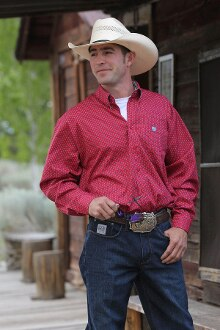 Cinch Men's  Red Weave Print Shirt (Free Shipping)