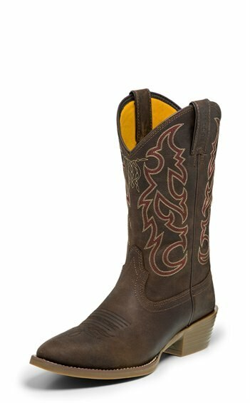 Justin Men's Dierks Brown Medium Round Toe Cowboy Boots