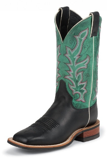 Justin Ladies Bent Rail Western Boot with Black Soft Ice Cowhide Foot (Free shipping on orders over $120.00)