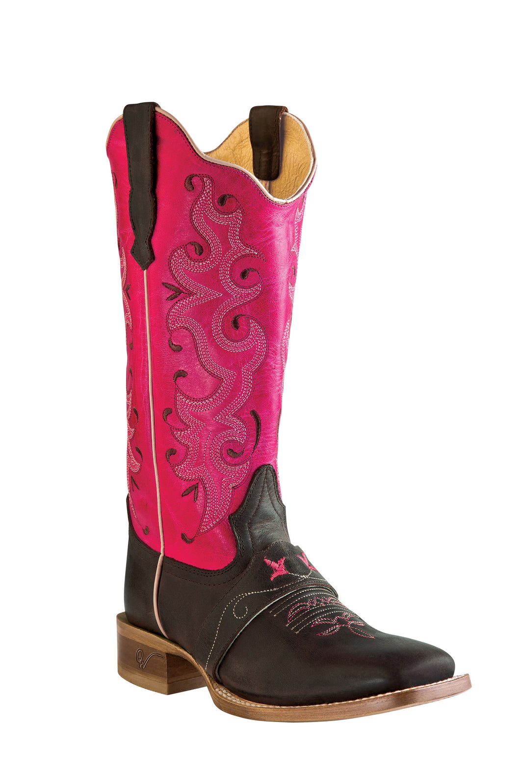Outlaw Women's Square Toe Boots w/Vamp Strap - Cafe/Fushia (Free Shipping on orders over $120.00)