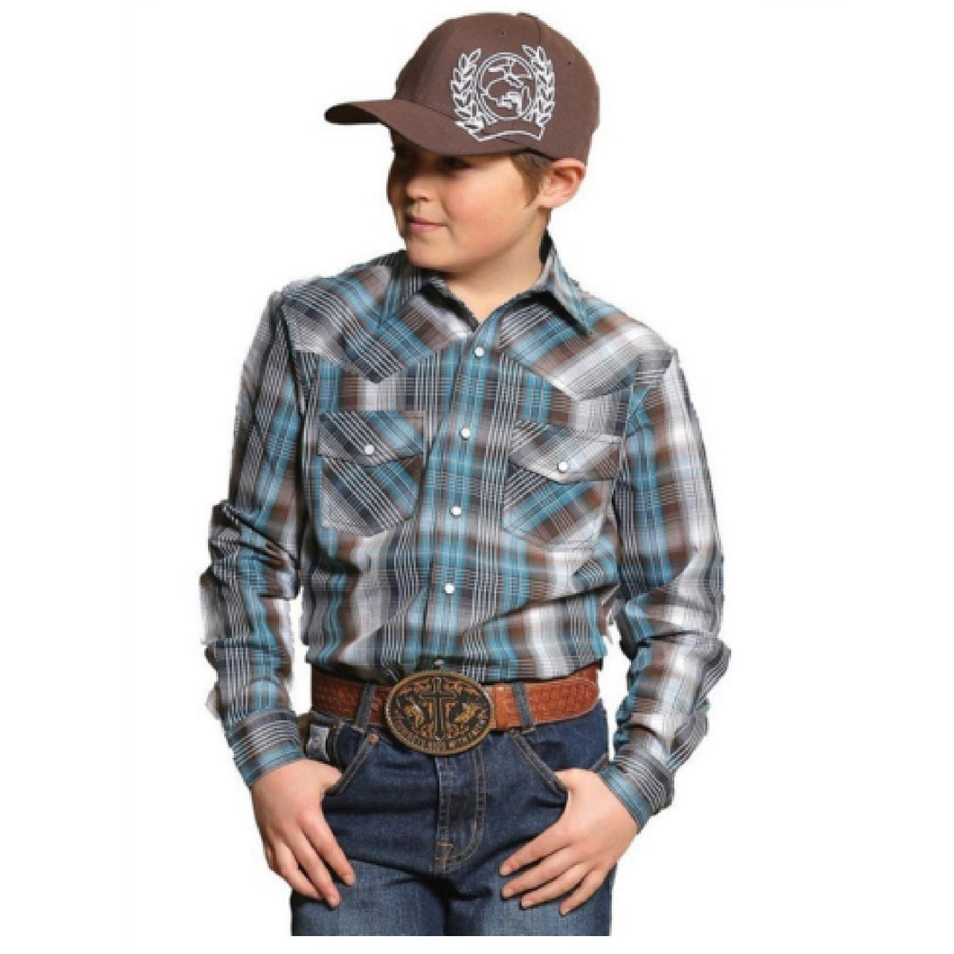 Cinch Blue and Brown Long Sleeve Boy's Shirt