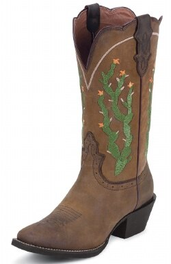 Justin Ladies Stampede Cactus Design Western Boots (Free Shipping on orders over $120.00)