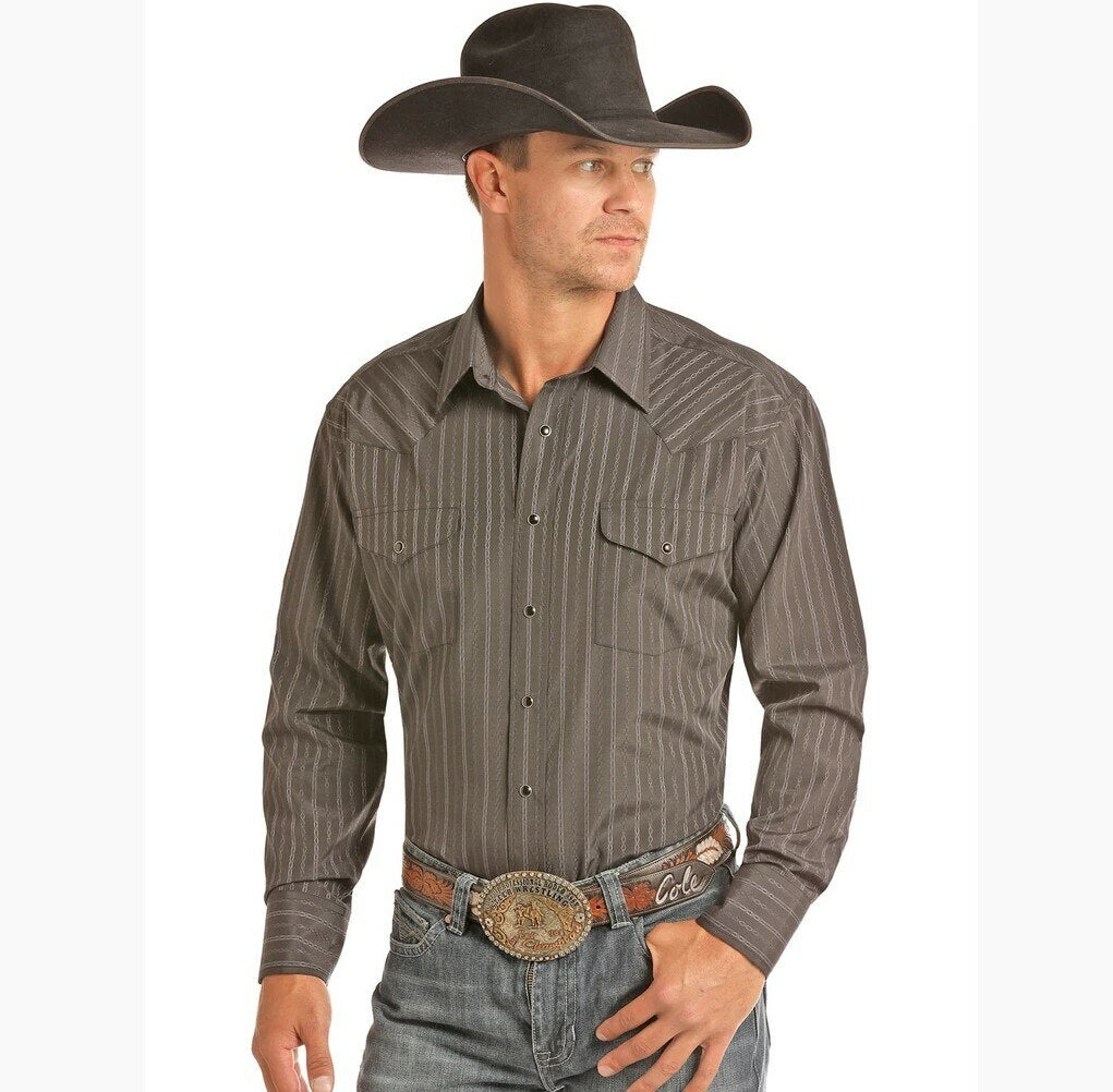 Panhandle Men's Black Chain Striped Snap Western Shirt