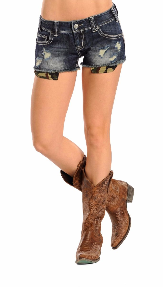 Rock & Roll Cowgirl Distressed Pocket Shorts
