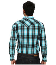 Load image into Gallery viewer, Rock and Roll Men's Cowboy L/S Blue and Black Plaid Snap Shirt