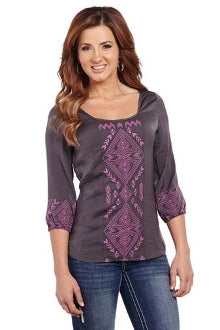 Cowgirl Up 3/4 Sleeve Geometric Embroidered Blouse (Free Shipping)