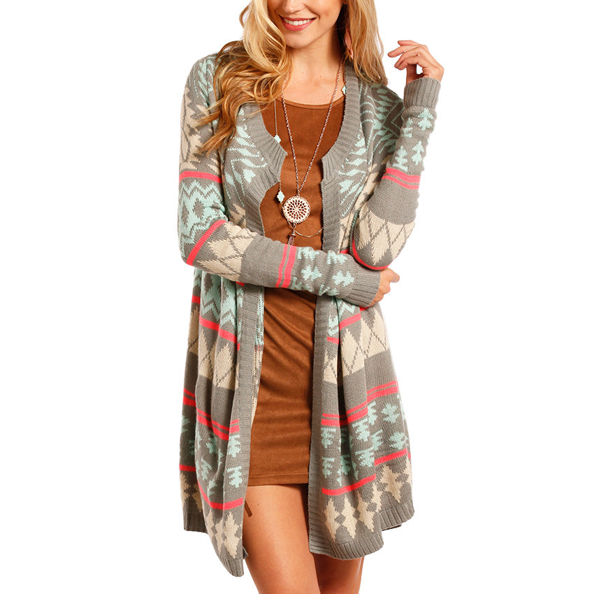 Rock & Roll Cowgirl Women's Aztec Open Cardigan