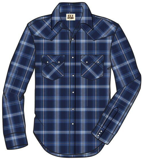 Ely & Walker Men's Classic Blue Check Plaid Design L/S Shirt
