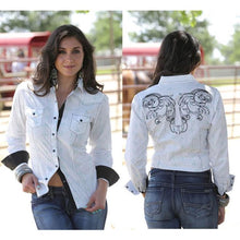 Load image into Gallery viewer, Cruel Girl Women's White Western Rodeo Barrel Arena Shirt
