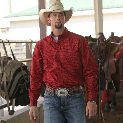 Cinch Men's Red And Black Print Long Sleeve Shirt