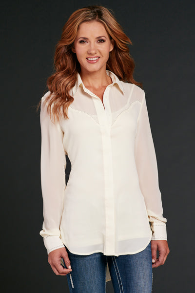 Cowgirl Up Women's  Western White Cotton Button Down Shirt