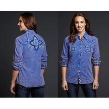 Load image into Gallery viewer, Cowgirl Up Blue Vintage Wash Fashion Shirt