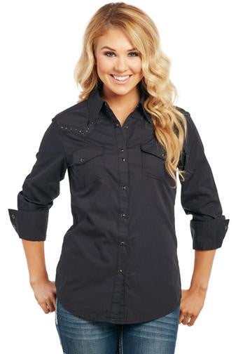 Cowgirl Up Women's Black Long Sleeved Shirt