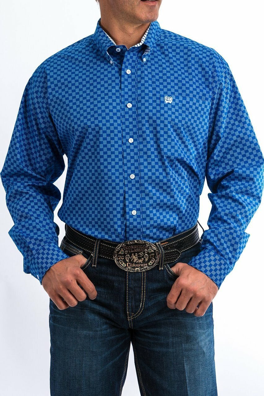 Cinch Men's Royal And White Geometric Print Western Shirt