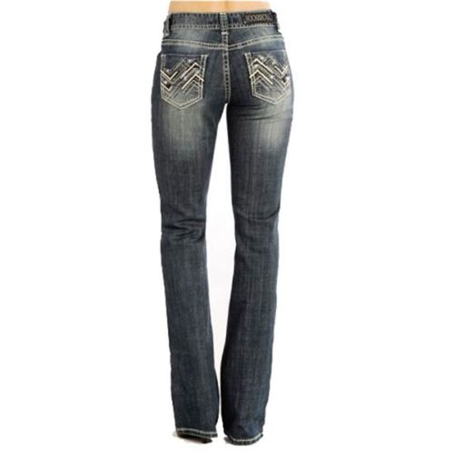 Rock & Roll Cowgirl Juniors Mid Rise Boot Cut Zig-Zag Design Jeans
