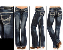 Load image into Gallery viewer, Rock & Roll Cowgirl Riding Ivory Stitch Embroidery Jeans
