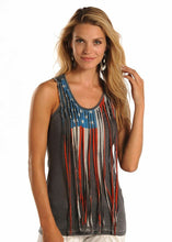 Load image into Gallery viewer, Rock And Roll Cowgirl Flag Fringe Women's Tank Top