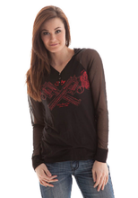 Load image into Gallery viewer, Cowgirl Tuff Black Henley with Sheer Sleeves and Crystal Pistol Art