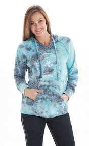 Cowgirl Tuff Women's Blue Burnout Tie Die with White Print Hoodie