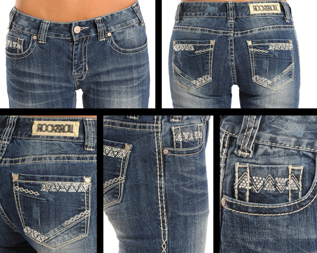 Rock & Roll Cowgirl Juniors Aztec Rhinestone Mid Rise Boot Cut Jeans