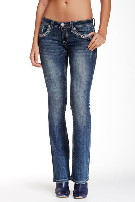 Grace in L.A. Women's Lacy Bootcut Fit Jeans