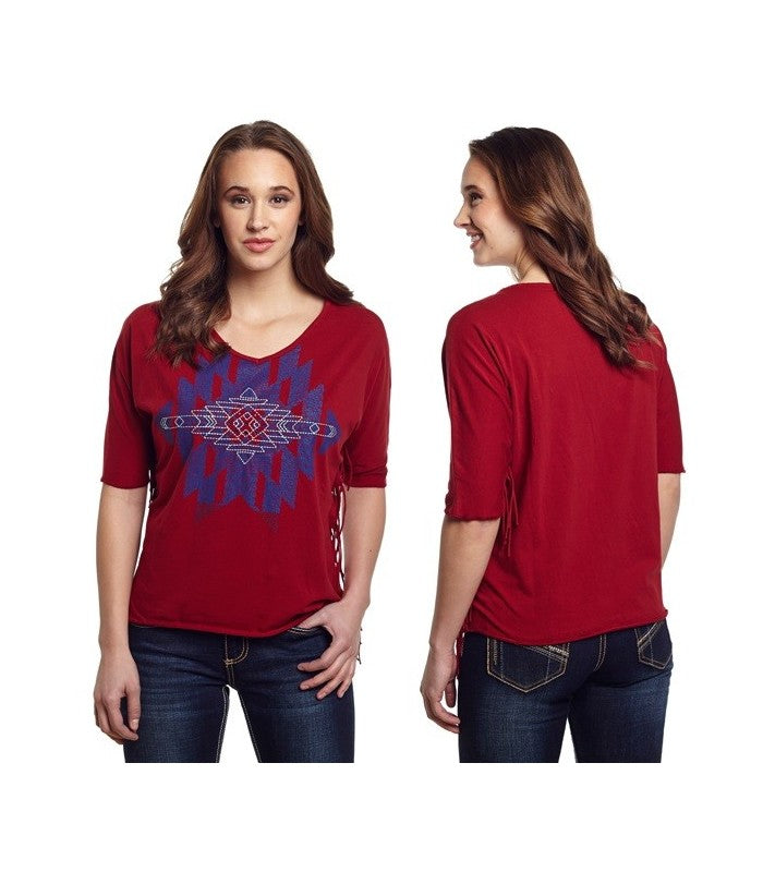 Cowgirl Up Women's Red Aztec Shirt