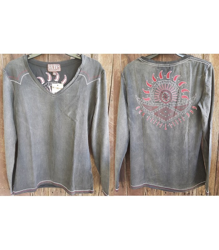 Cowgirl Up Women's Stonewash 2X Long Sleeve Shirt (Free Shipping)