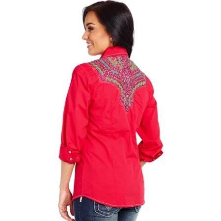 Cowgirl Up Women's Enzyme Washed Embroidered Western Shirt (Free Shipping)