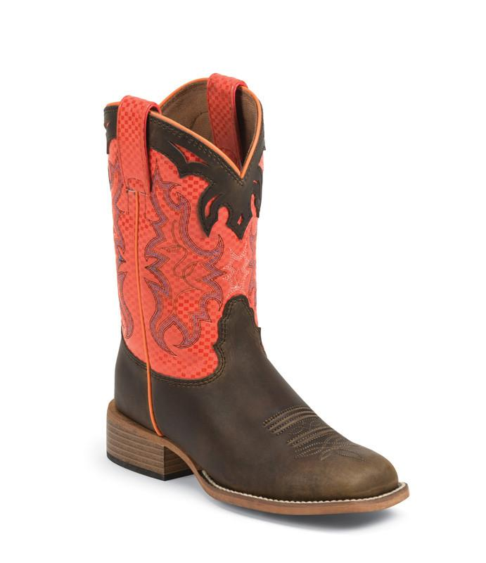 Justin Kid's Lucas Orange Boots