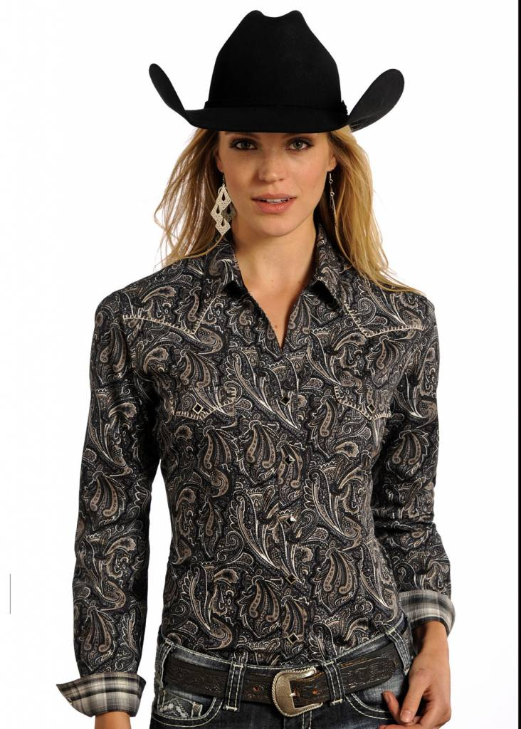 Panhandle Women's Paisley Rough Stock Western Snap Front Shirt