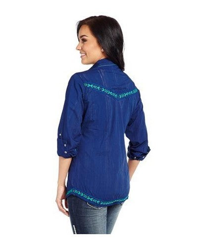 Cowgirl Up® Ladies' Royal Blue Vintage Washed Snap Shirt (Free Shipping)