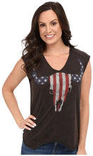 Load image into Gallery viewer, Rock And Roll Glitter Skull And Lace Sleeveless Ladies Shirt