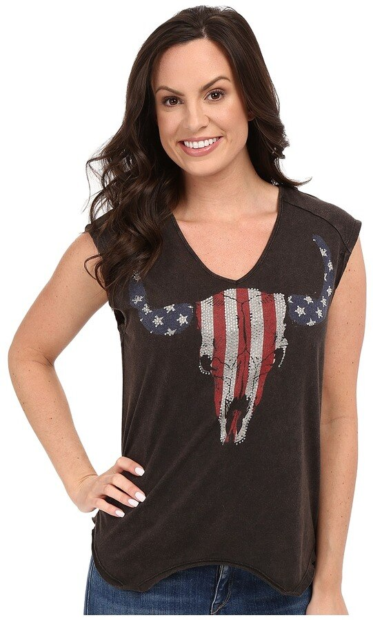 Rock And Roll Glitter Skull And Lace Sleeveless Ladies Shirt
