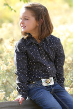 Load image into Gallery viewer, Cruel Girls Charcoal and Pink Hearts Print Snap Western Shirt