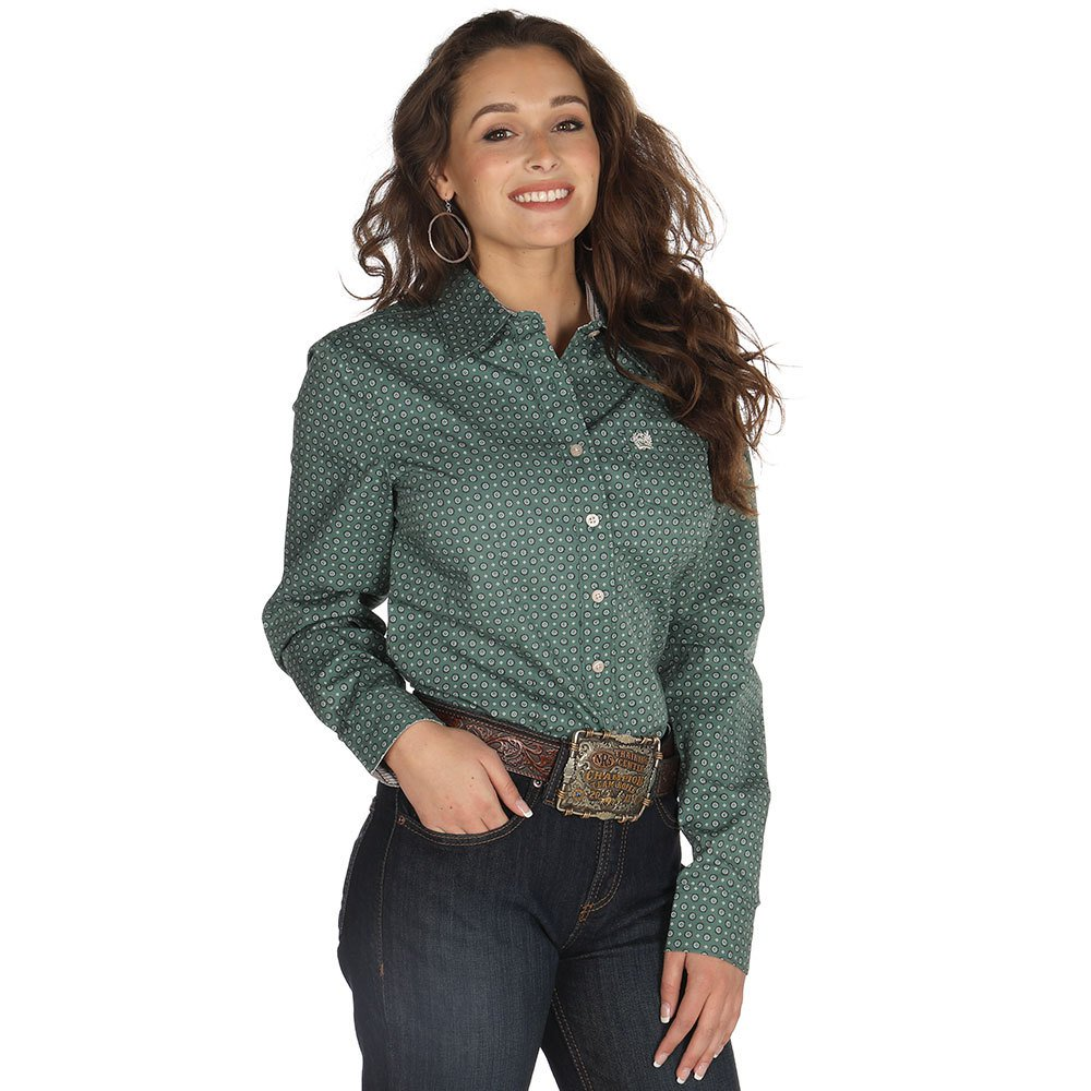 Cinch Women's Hunter Green And Diamond Print Western Shirt