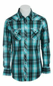 Rock and Roll Men's Cowboy L/S Blue and Black Plaid Snap Shirt