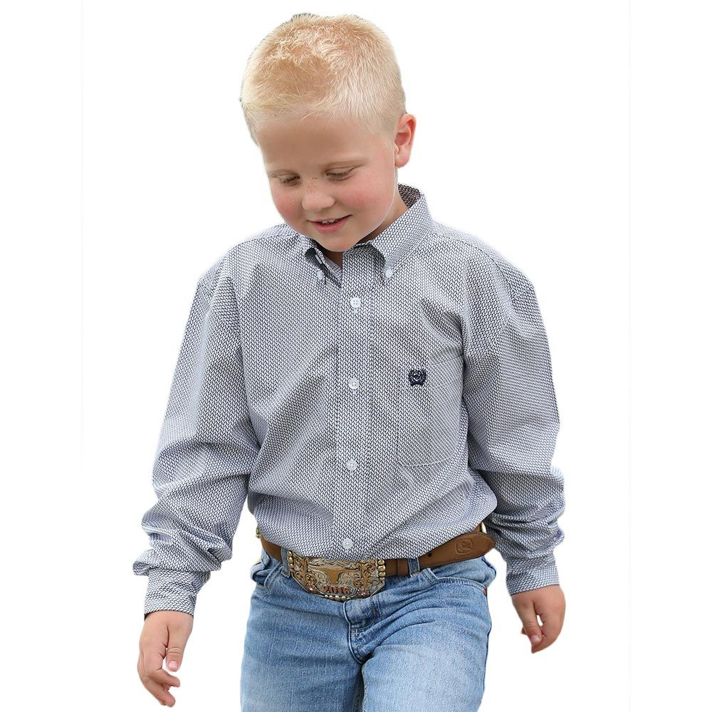 Cinch Boy's Tencel Navy Print Western Shirt